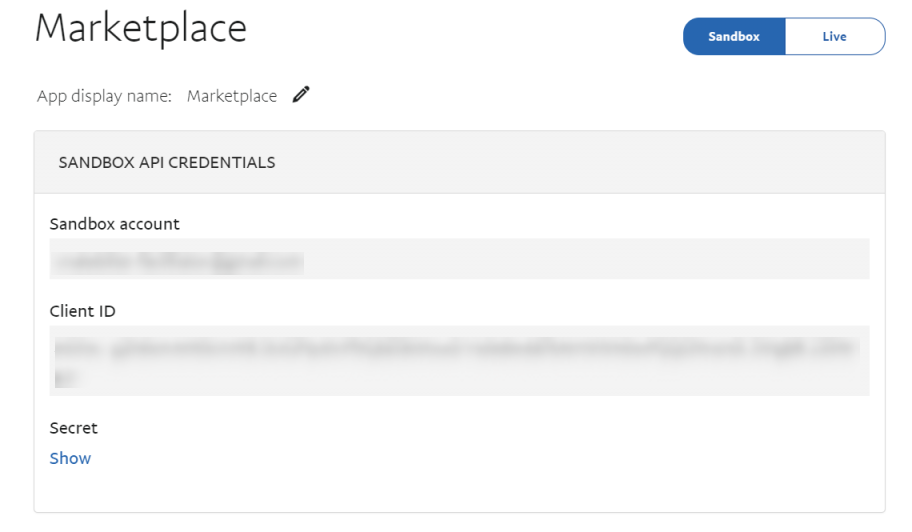 PayPal Payments Rest API keys